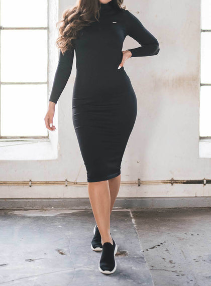 RIBBED LONG SLEEVE DRESS