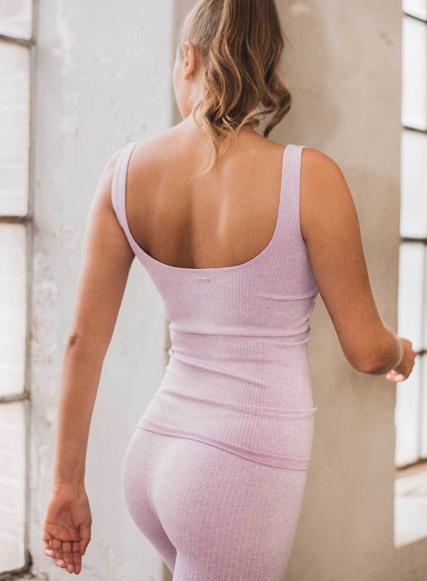 Purple Ribbed Seamless Singlet