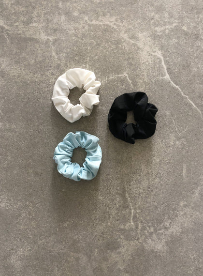3-PACK SCRUNCHIE TURQUOISE /BLACK/WHITE
