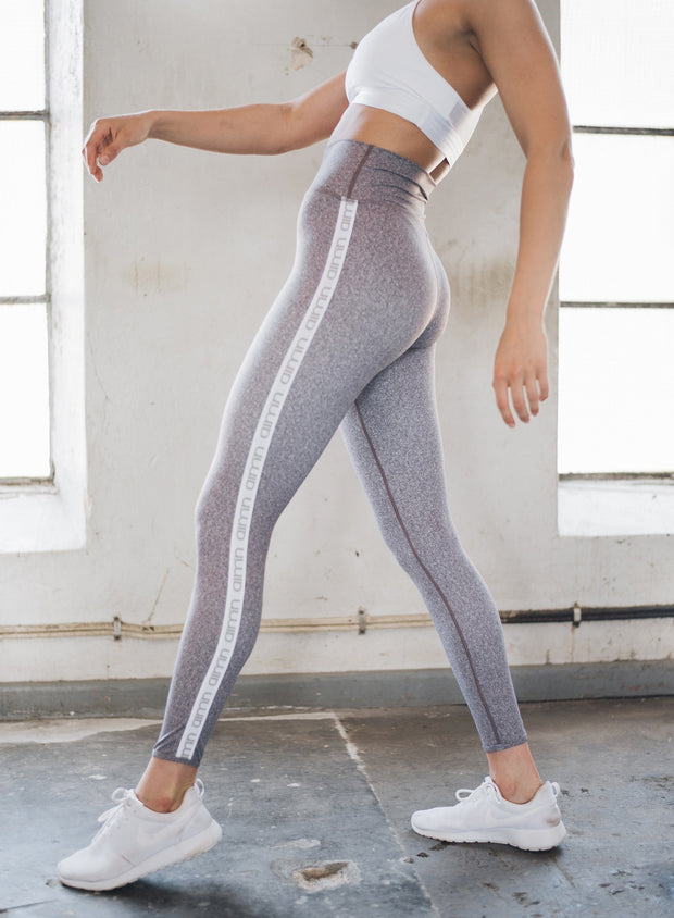 Grey Melange Streak Tights