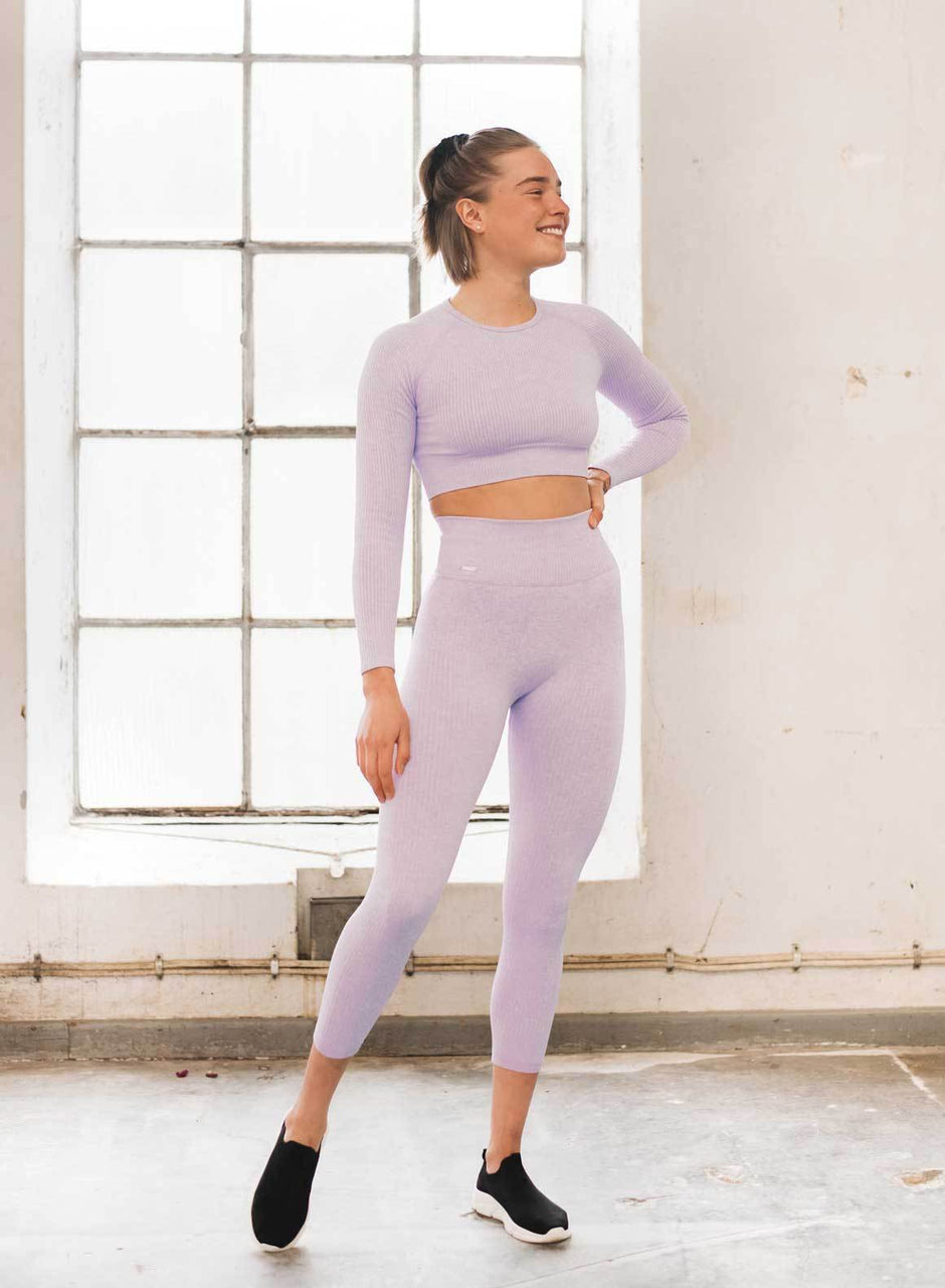 Purple Ribbed Seamless Crop Long Sleeve