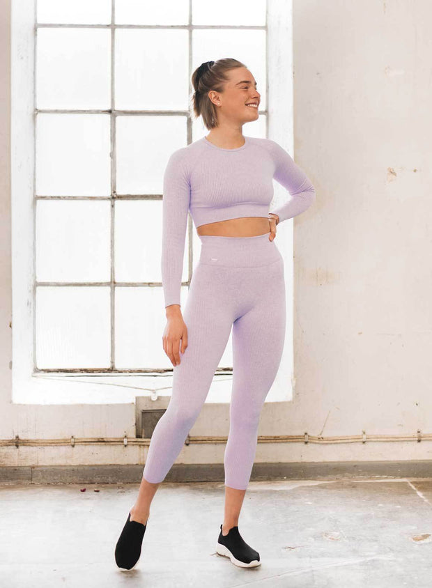 Purple Ribbed Crop Long Sleeve