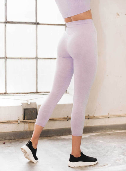 Purple Ribbed Seamless Tights 7/8 aim'n sportswear