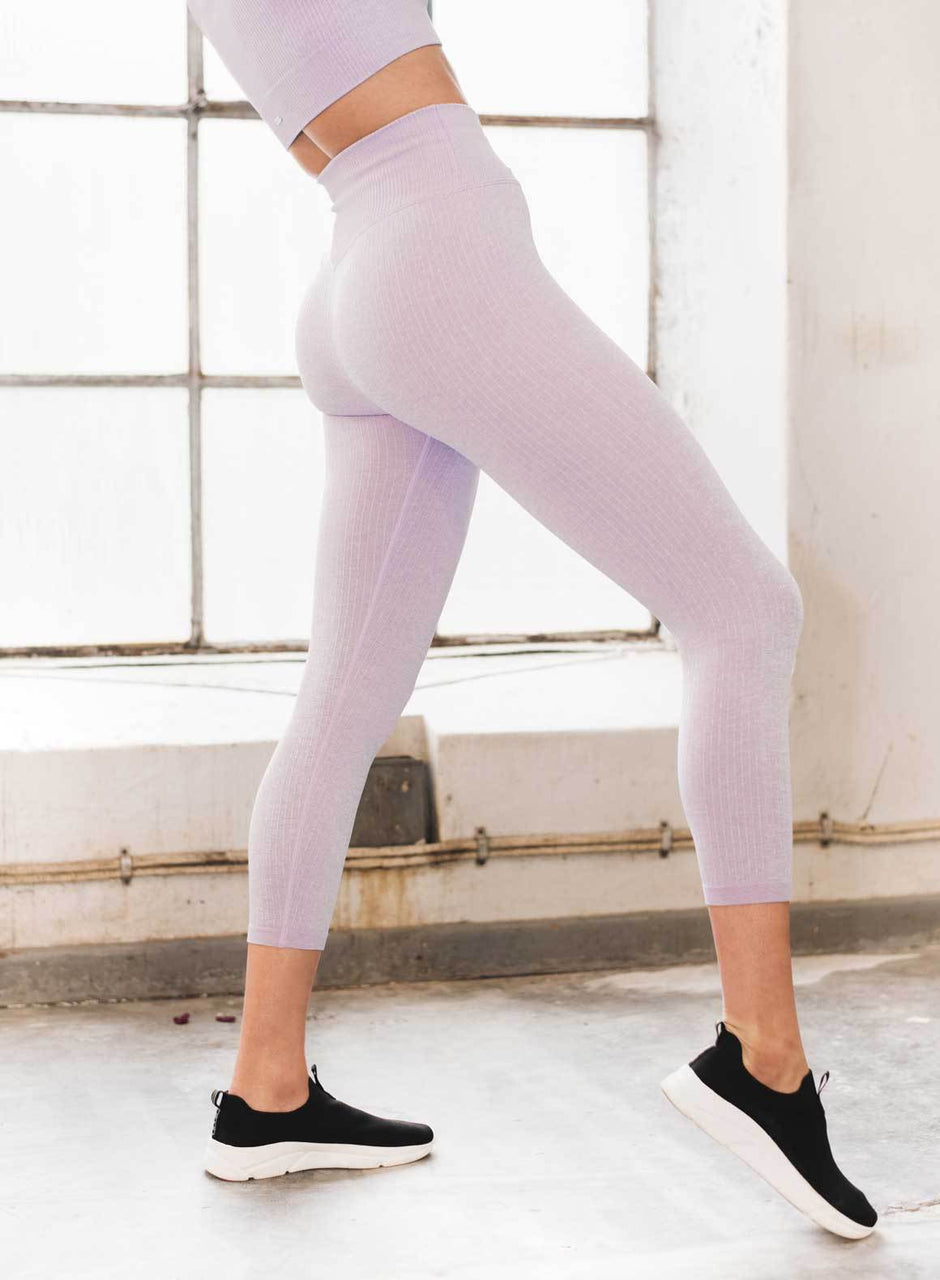 Purple Ribbed Seamless Tights 7/8