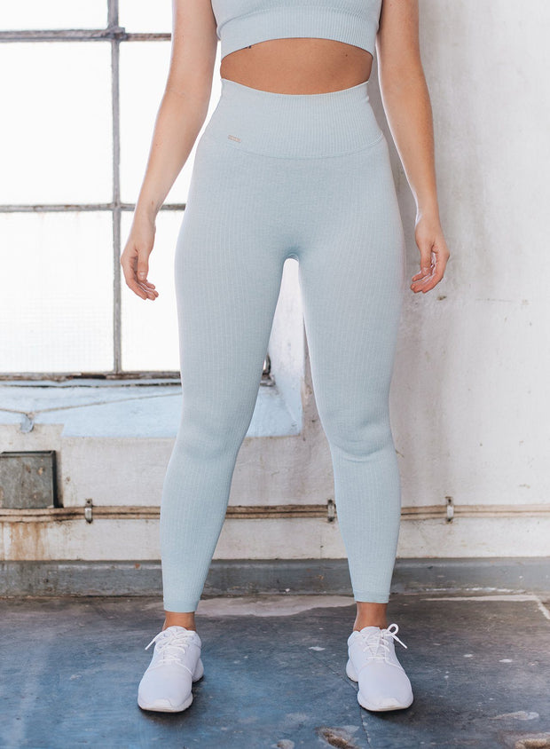 Turquoise Ribbed Seamless Tights