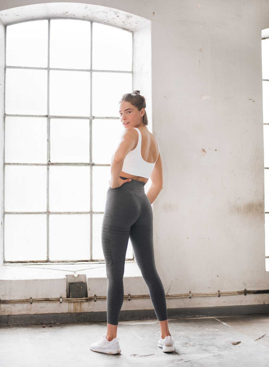 Grey Ribbed Seamless Tights