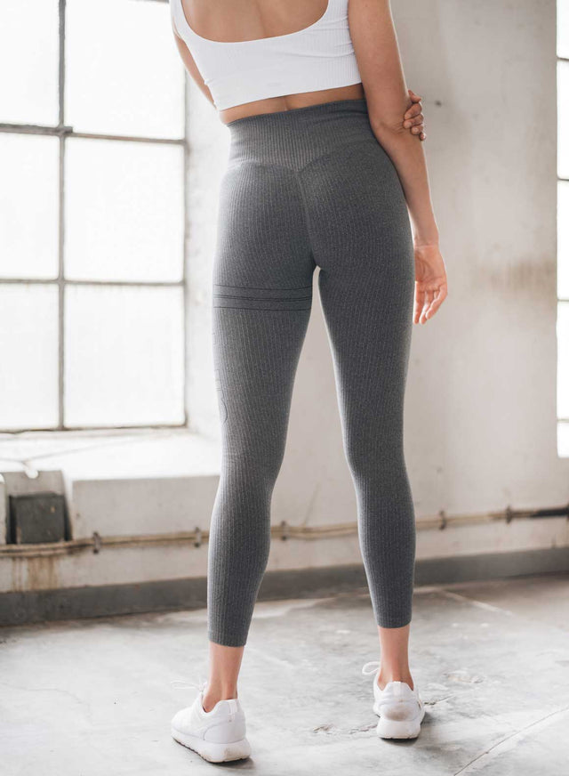 Grey Ribbed Seamless Tights aim'n sportswear