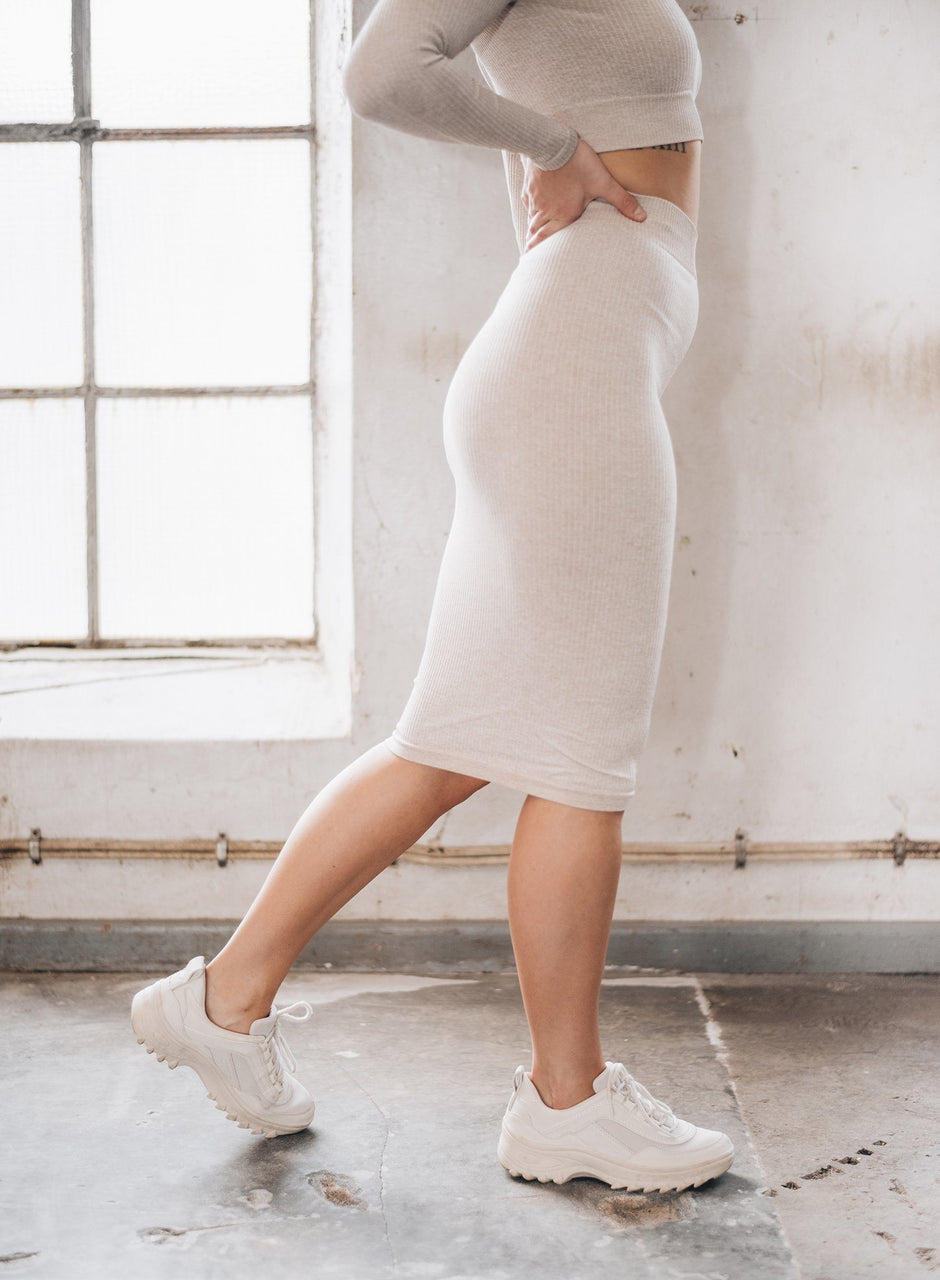 Beige Ribbed Seamless Skirt