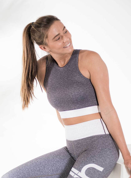 Grey Melange Open Back Crop aim'n sportswear