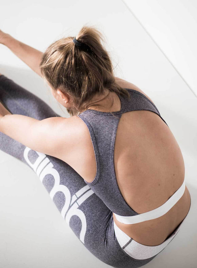 Grey Melange Open Back Crop