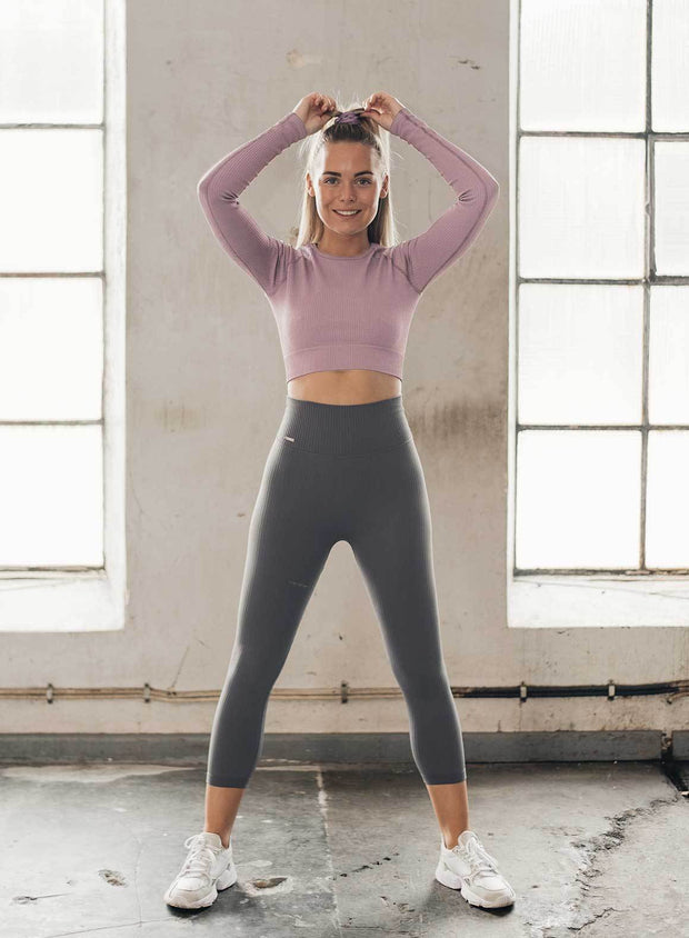 CONCRETE RIBBED SEAMLESS TIGHTS 7/8