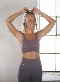 PALE PLUM RIBBED SEAMLESS BRA