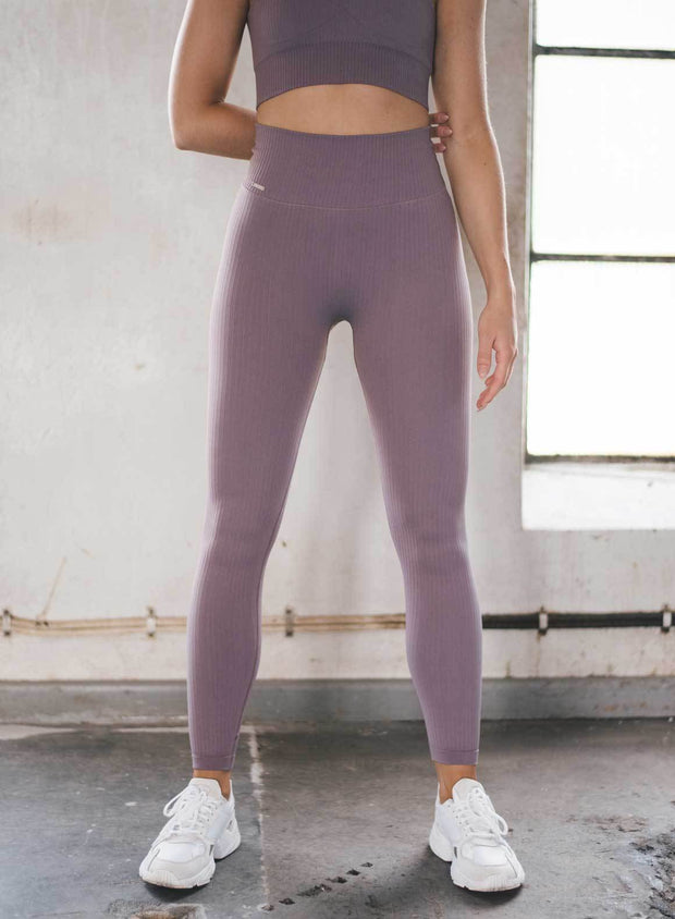 PALE PLUM RIBBED SEAMLESS TIGHTS