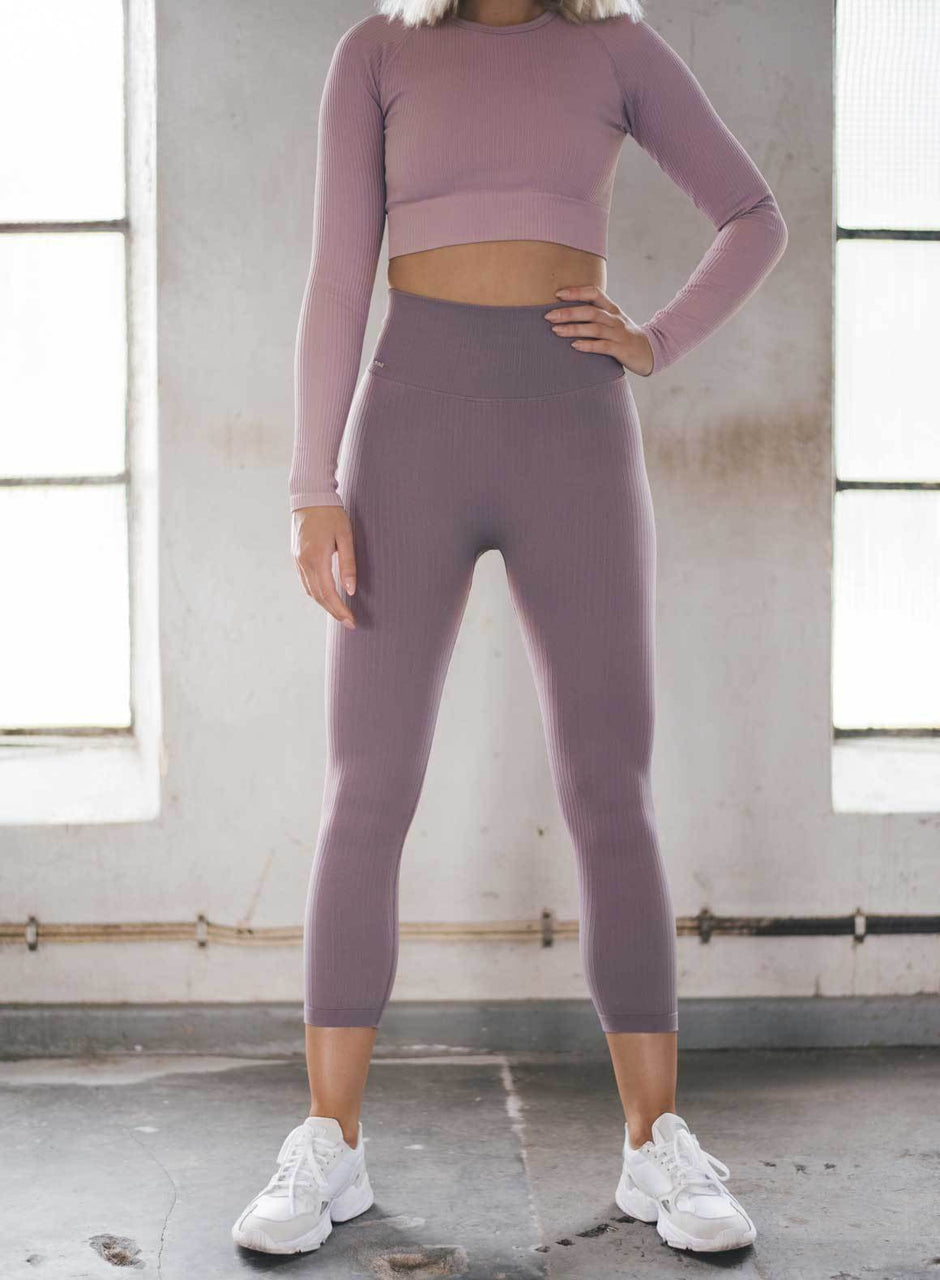 PALE PLUM RIBBED SEAMLESS TIGHTS 7/8
