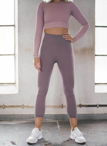 PALE PLUM RIBBED SEAMLESS TIGHTS 7/8 aim'n sportswear