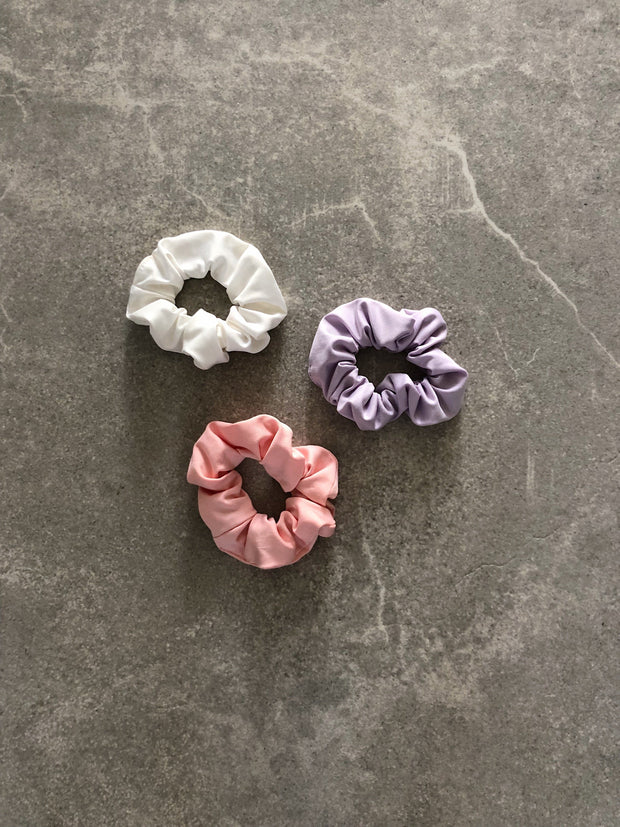 3-PACK SCRUNCHIE PURPLE/PEACH/WHITE