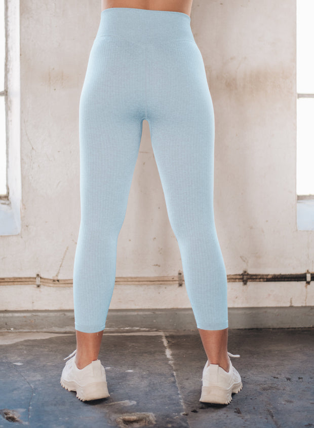 TURQUOISE RIBBED SEAMLESS TIGHTS 7/8