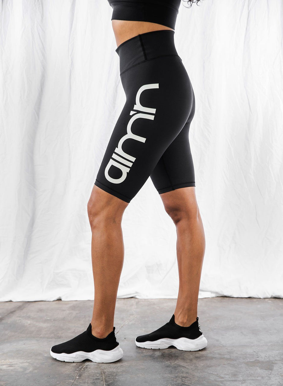 BLACK LOGO BIKER SHORTS
