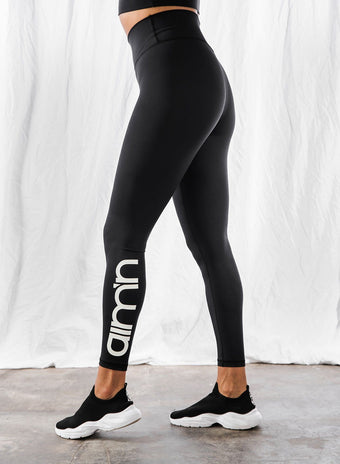 BLACK LOGO TIGHTS aim'n sportswear