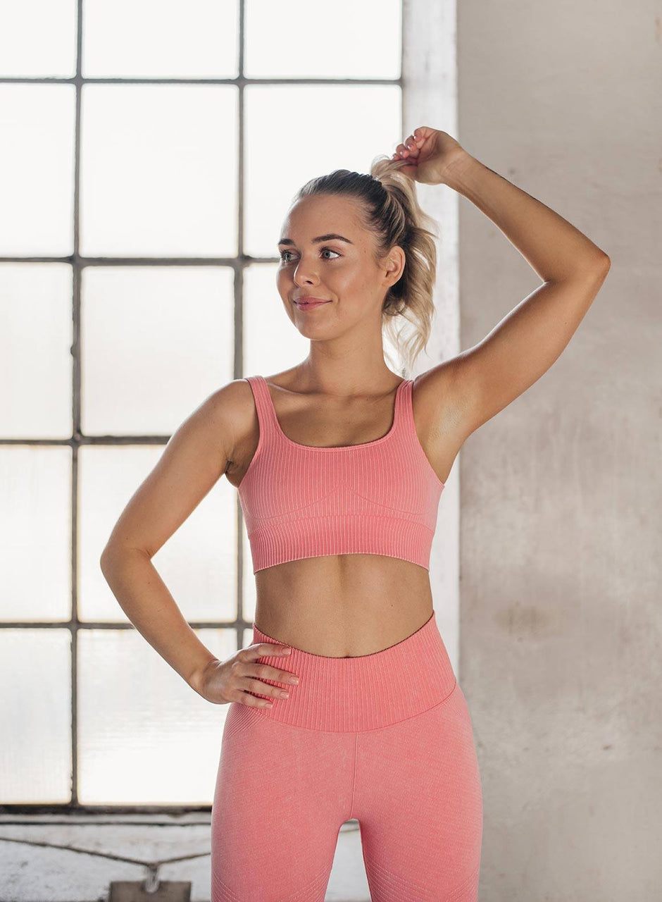 BUBBLEGUM WASHED RIBBED SEAMLESS BRA