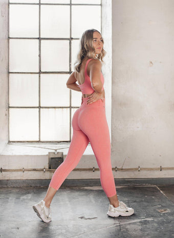 BUBBLEGUM WASHED RIBBED SEAMLESS TIGHTS 7/8