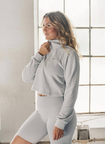 CLOUD FLEECE LONG SLEEVE CROP TOP aim'n sportswear