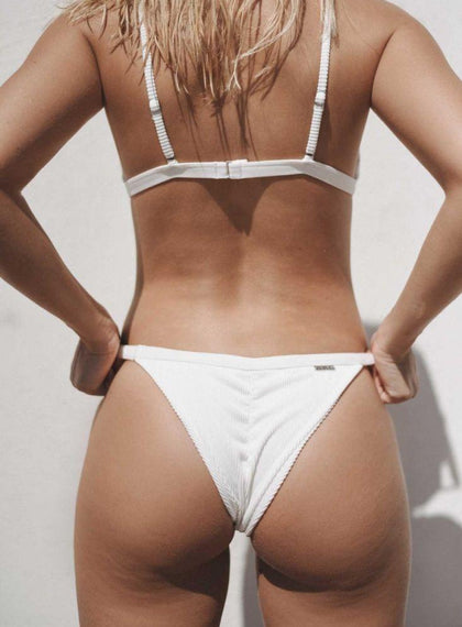 White Ribbed Bikini Bottom aim'n sportswear