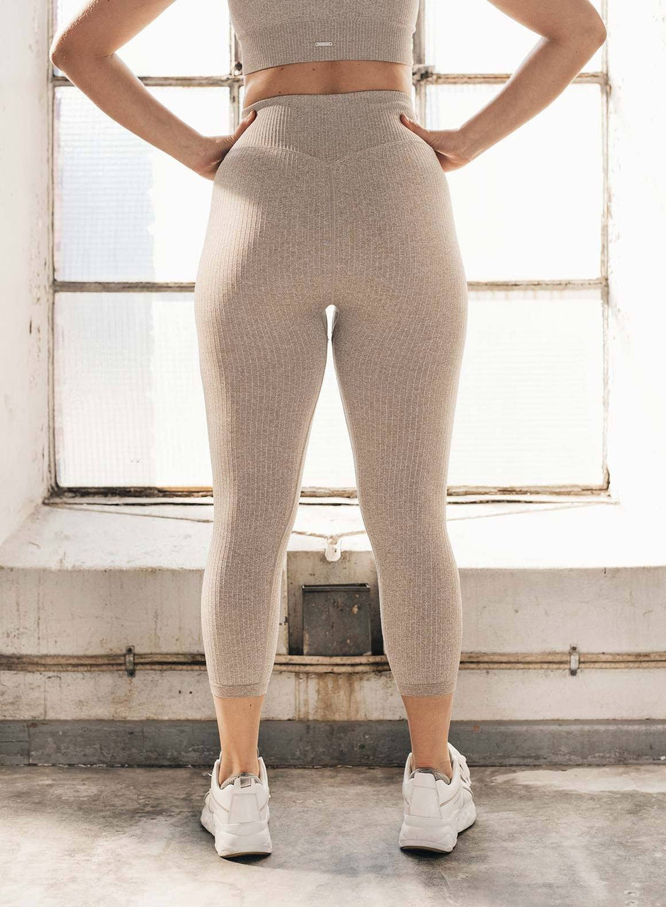 LATTE RIBBED SEAMLESS TIGHTS 7/8