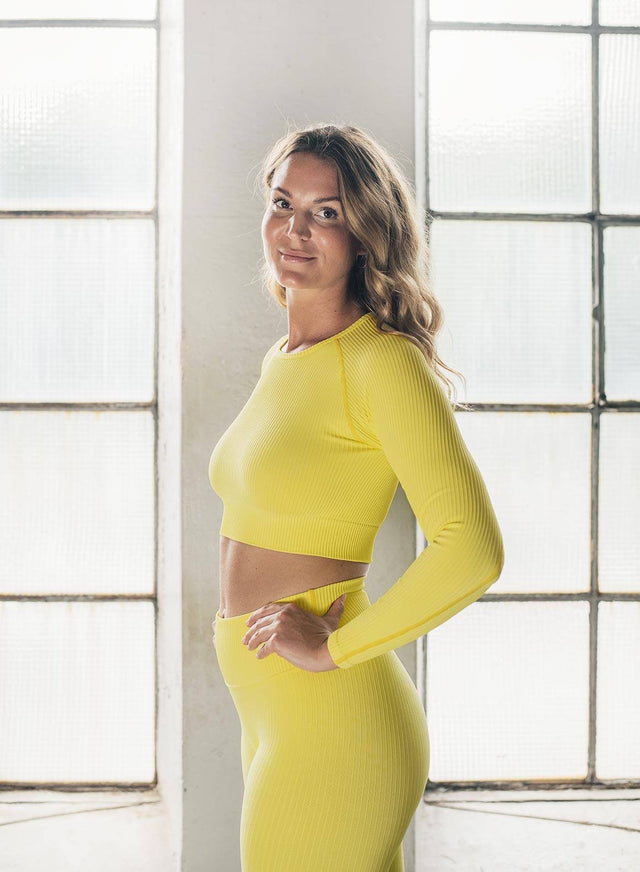 SUNSHINE RIBBED SEAMLESS CROP LONG SLEEVE aim'n sportswear