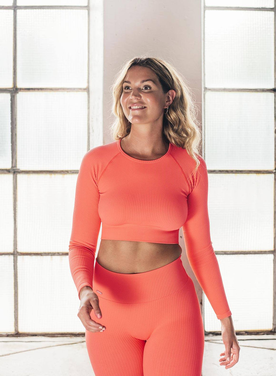 VITAMIN C RIBBED SEAMLESS CROP LONG SLEEVE