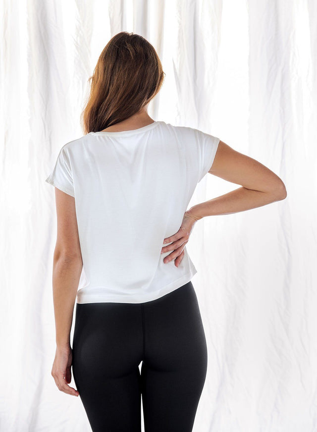 WHITE RIB FLOW TOP aim'n sportswear