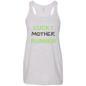"""Lucky Mother Runner"" Flowy Racerback Tank (Vintage White)"
