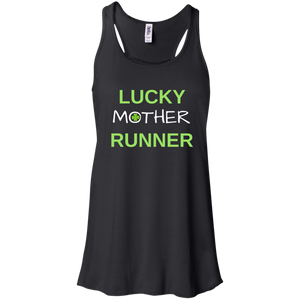 """Lucky Mother Runner"" Flowy Racerback Tank (Black)"