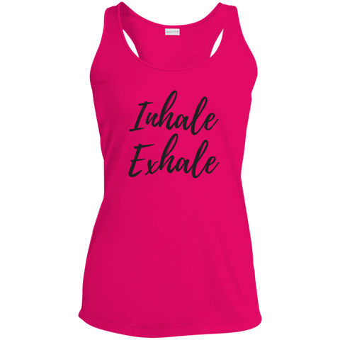 """Inhale / Exhale"" Racerback Moisture Wicking Tank"