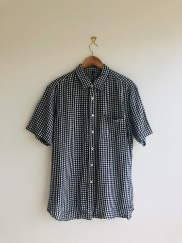 Vintage Navy Gingham Linen Short Sleeve Shirt