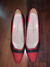 Vintage Chanel Black & Red Pumps - The Curatorial Dept.