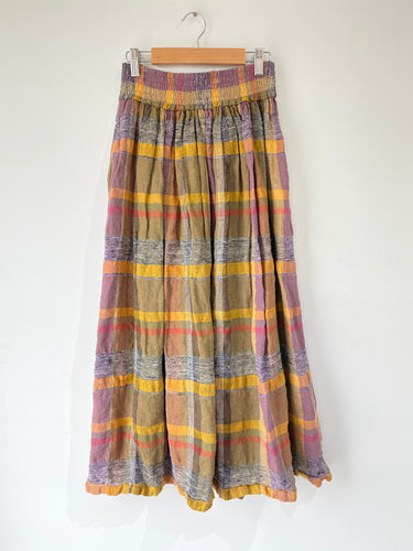 Vintage Tuzzi Plaid Linen Skirt