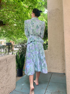 Vintage Studio E Puff Sleeve Floral Dress - The Curatorial Dept.