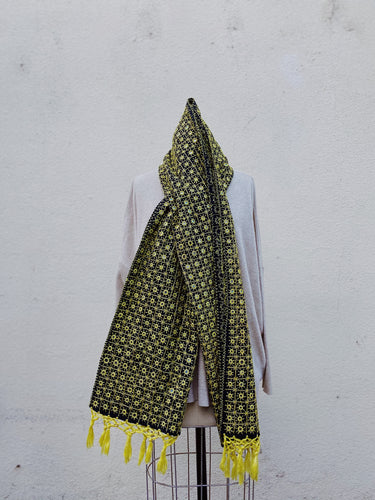 Black & Yellow Scarf with Mirrors