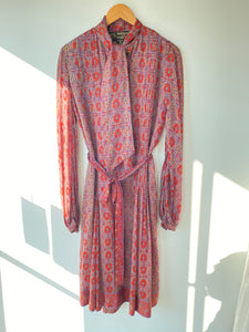 Judith Ann for Heister Egan Block Printed Silk Dress