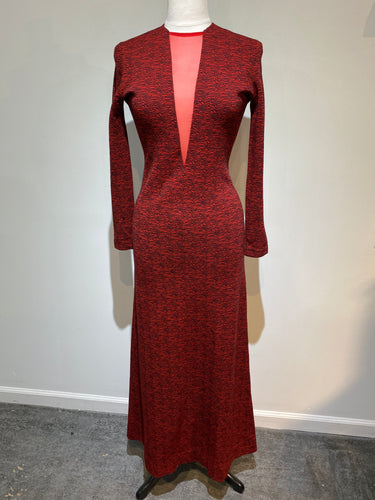 1960s  Rudi Gernreich Plunging V Neck Knit Dress