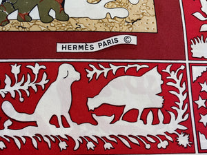 Vintage Hermes Silk Scarf Early America