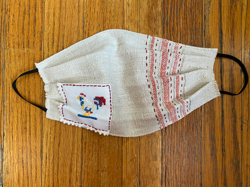 Vintage Fabric Face Mask French Linen Chicken - The Curatorial Dept.