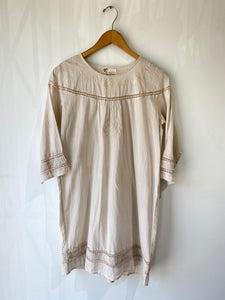 Local Brand Cream Dress with Lace and Embroidery