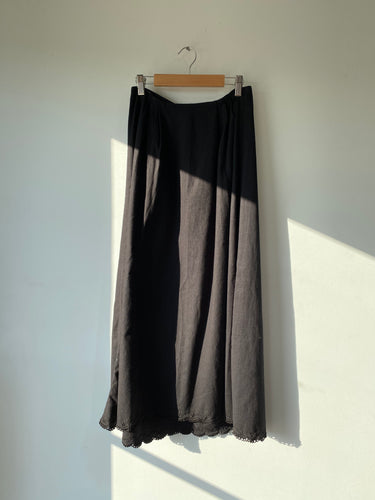 Vintage Overdyed Victorian Skirt with Lace - The Curatorial Dept.