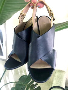 Celine Navy Leather Wedges - The Curatorial Dept.