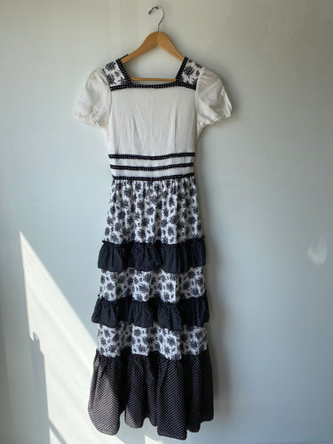 Vintage Black and White Prairie Dress