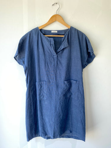 Fog Linen Work Blue Dress - The Curatorial Dept.