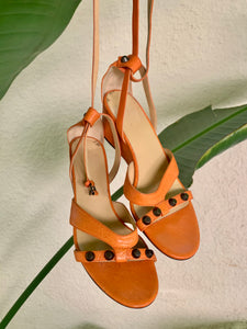 Vintage Balenciaga Orange Sandals - The Curatorial Dept.