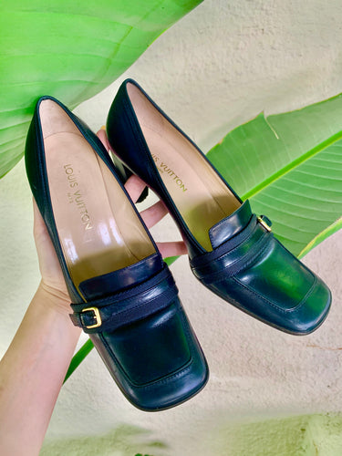 Vintage Louis Vuitton Navy Leather Pumps - The Curatorial Dept.